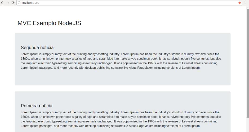MVC conceito e exemplo em Node.js